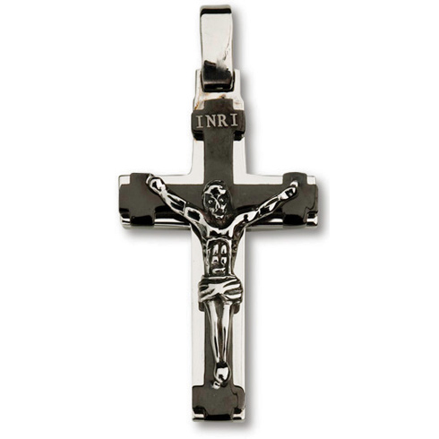 Stainless Steel 1 3/8in Framed Crucifix 24in Necklace