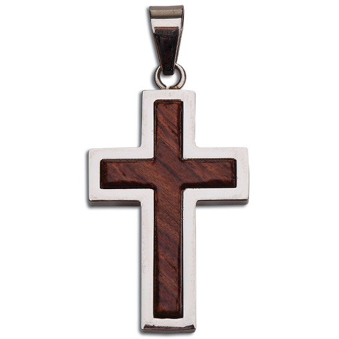 Stainless Steel 1 3/8in Raised Wood Cross 24in Necklace