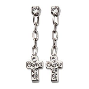Stainless Steel 3/4in CZ Dangle Cross Earrings