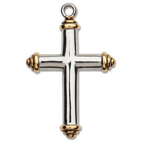 Stainless Steel 1 3/8in Gold Tipped Cross 24in Necklace