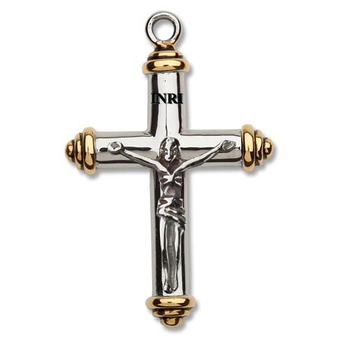 Stainless Steel 1 3/8in Cylinder Crucifix 24in Necklace