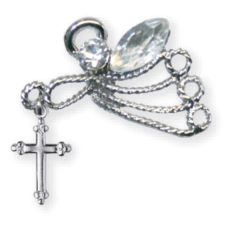 Crystal Stones Angel Lapel Pin Set of Two