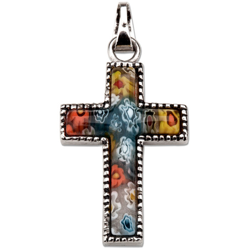 Stainless Steel 1in Murano Glass Cross 18in Necklace