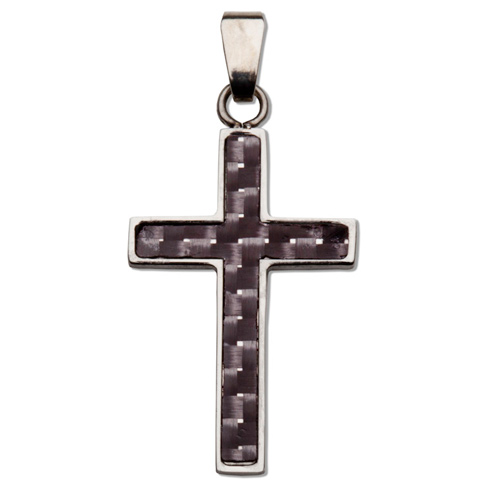 Stainless Steel 1 1/16in Carbon Fiber Cross 18in Necklace
