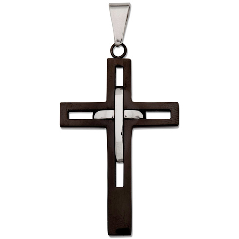 Stainless Steel 1 5/8in Two-Tone Latin Cross 24in Necklace