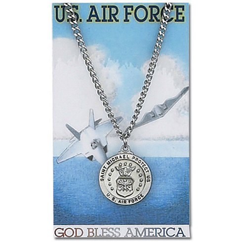 24in Pewter St. Michael Air Force Necklace on Holy Card