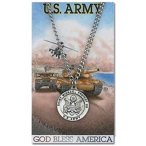 Pewter St. Michael Army 24in Necklace on Holy Card