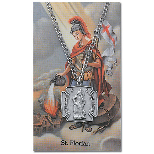 24in Pewter St. Michael Firefighter Necklace on Holy Card