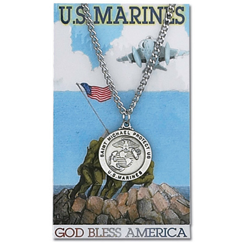 Pewter 1in St. Michael Marines Medal on 24in Necklace on Holy Card