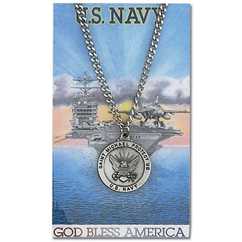 24in Pewter St. Michael Navy Necklace on Holy Card