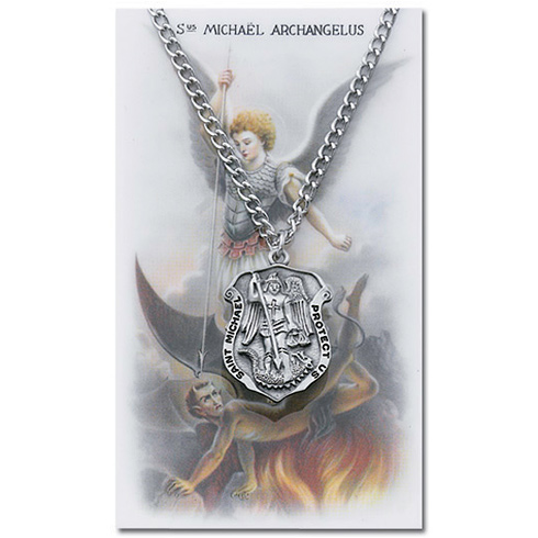 Pewter 1in St. Michael Police Shield Medal on 24in Necklace