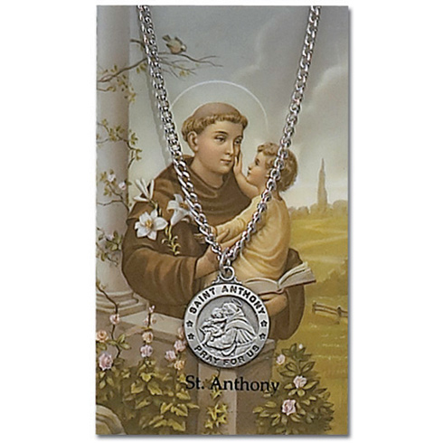 24in Saint Anthony Pewter Medal Necklace on Holy Card