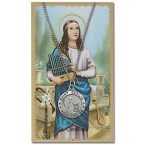 Pewter Saint Cecilia Medal on 18in Chain with Holy Card