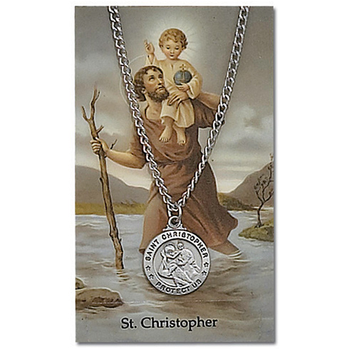 St Christopher Pewter Medal on 24in Necklace on Holy Card