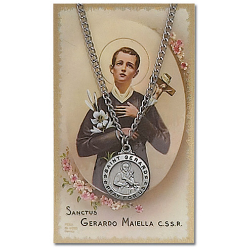 18in Saint Gerard Pewter Medal Necklace on Holy Card