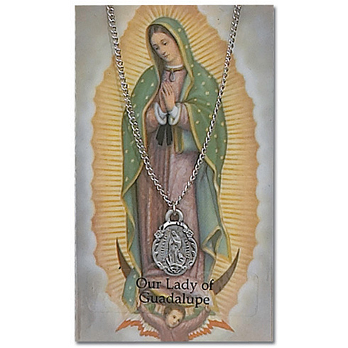 18in Our Lady of Guadalupe Pewter Medal Necklace on Holy Card