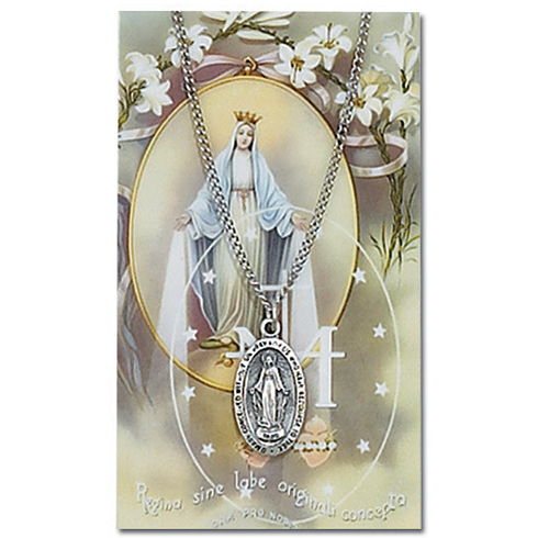 Pewter Miraculous Medal 18in Necklace on Holy Card