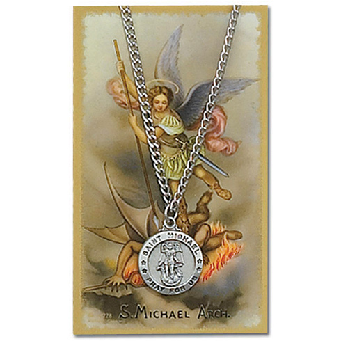 Saint Michael Pewter Medal 24in Necklace on Holy Card