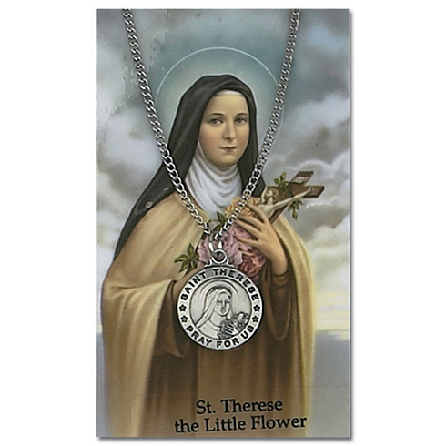 Saint Therese Pewter Medal on 18in Necklace with Holy Card