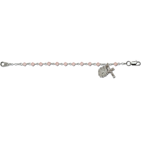 Deluxe Rose Crystal Bead Baby Bracelet with Miraculous Medal