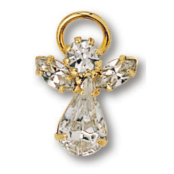 Gold Plated Crystal Angel Lapel Pin Set of Two