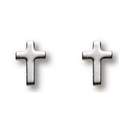 Sterling Silver 1/4in Latin Cross Earrings