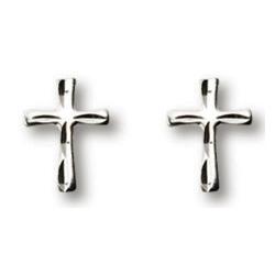 Sterling Silver 3/8in Freeform Cross Earrings