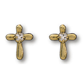 14kt Yellow Gold Filled 3/8in Crystal Cross Earrings