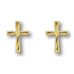 14kt Yellow Gold Filled 3/8in Freeform Cross Earrings