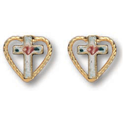 14kt Yellow Gold Filled 5/16in Heart Cross Earrings