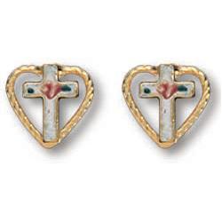 14kt Yellow Gold Filled 5/16in Heart Cross Earrings