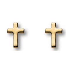 14kt Yellow Gold Filled 1/4in Latin Cross Earrings