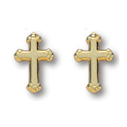 18kt Yellow Gold Plated 3/8in Budded Cross Earrings