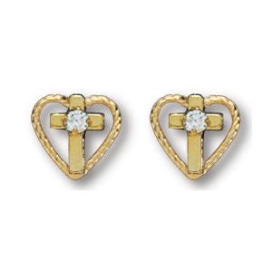 14kt Yellow Gold Filled 5/16in Heart Cross CZ Earrings