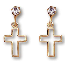 14kt Yellow Gold Filled 3/4in Crystal Cross Dangle Earrings