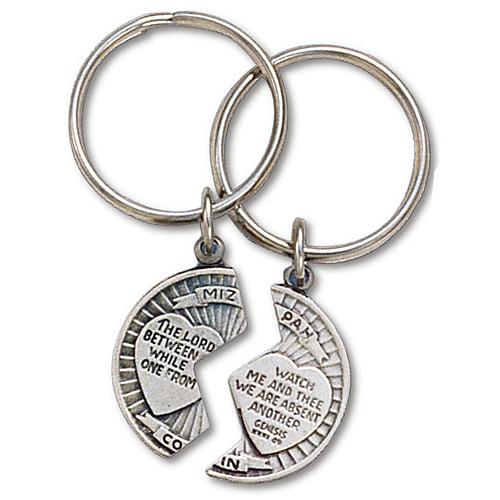 Pewter Mizpah Key Ring Two Pack