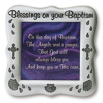 Blessings on your Baptism Pewter Finish Photo Frame