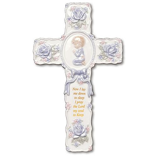 Ceramic 9in Praying Boy Wall Prayer Cross