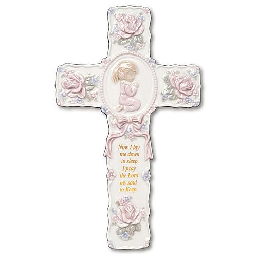 9in Praying Girl Ceramic Wall Prayer Cross