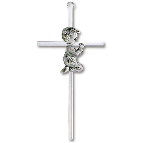 Silver Plated 6in Praying Boy Wall Cross