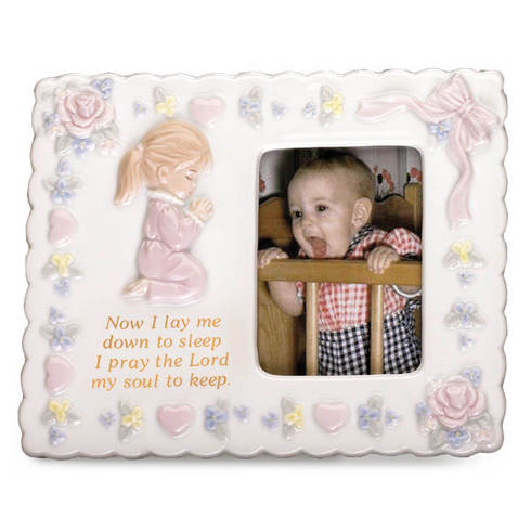 Ceramic Praying Girl Picture Frame