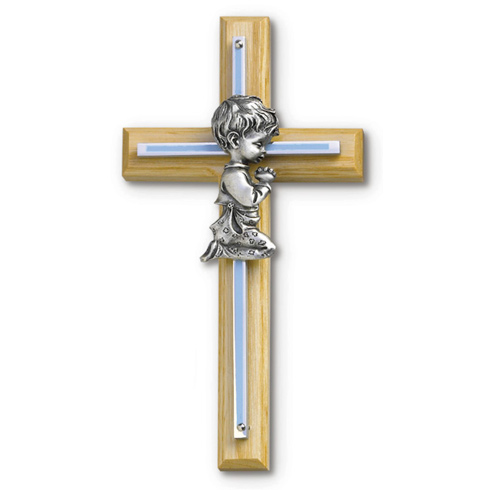 8in Beveled Wood Wall Cross with Gold Plated Boy Praying