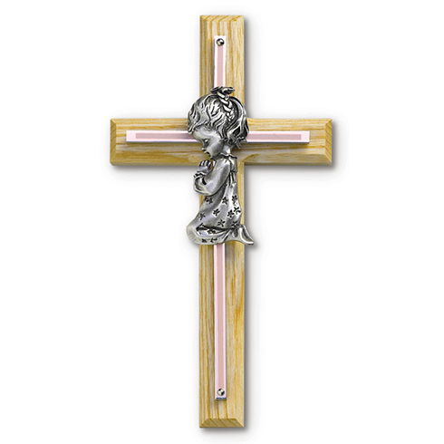 8in Beveled Wood Wall Cross with Gold Plated Girl Praying