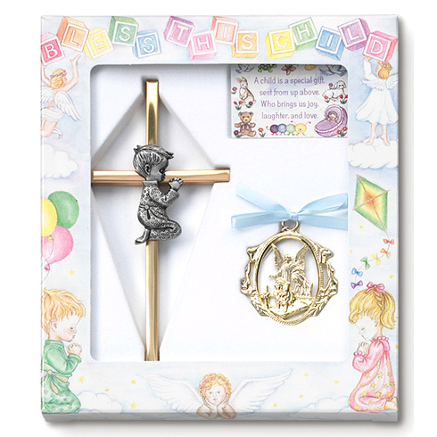 Boy's Guardian Angel Ornament and 6in Praying Cross Set
