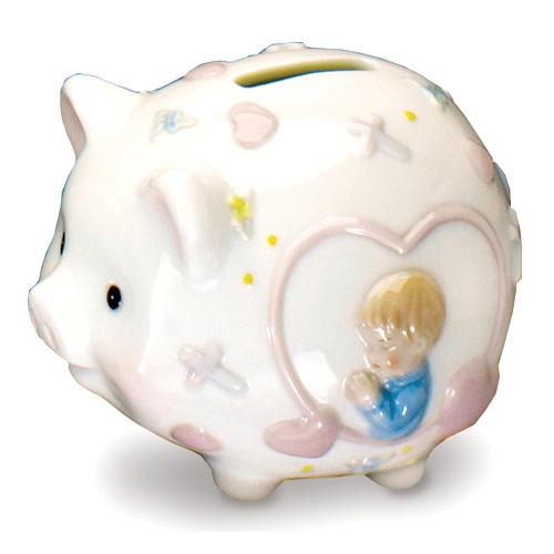 Ceramic 5in Praying Boy Piggy Bank