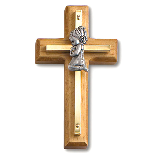 4 1/2in Beveled Gold Plated Praying Girl Wall Cross