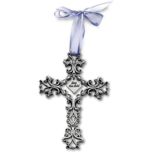 5in Pewter Bless This Child Filigree Wall Cross for Boys