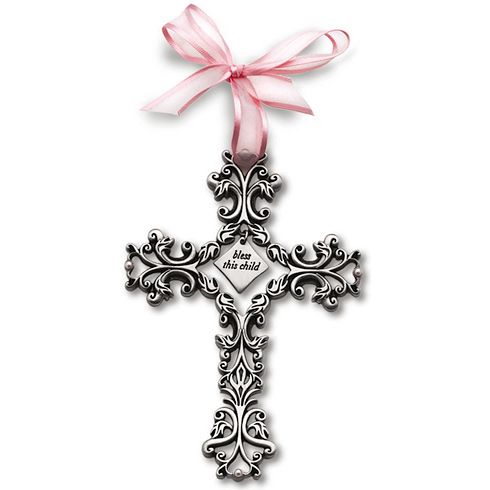 5in Pewter Bless This Child Filigree Wall Cross for Girls