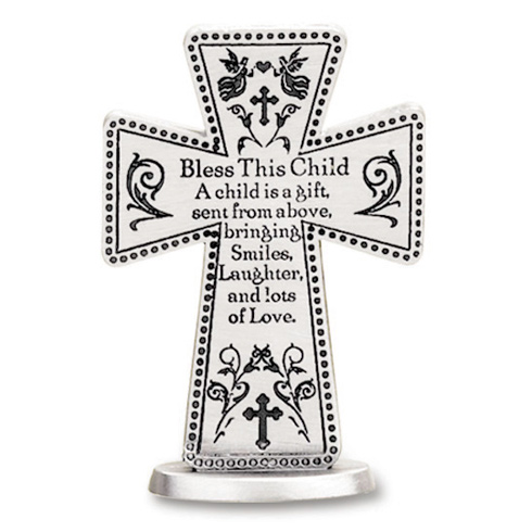 3in Pewter Bless This Child Prayer Standing Cross
