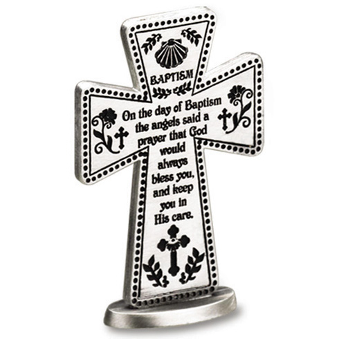 3in Pewter Baptism Prayer Standing Cross